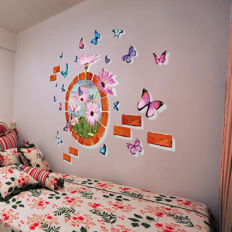 Shijuehezi] Butterflies 3D Wall Stickers Vinyl Diy Animals Wall Throughout Diy 3D Wall Art Butterflies (Image 16 of 20)