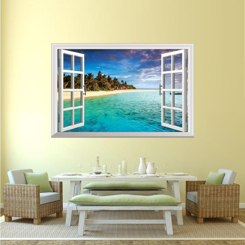 Shijuehezi] Removable Fake Window 3D Wall Stickers Beach Island For Beach 3D Wall Art (Image 15 of 20)