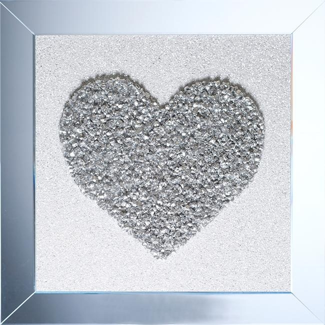 Silver Crush Heart 3D Wall Art In Mirrored Frame With Regard To Heart 3D Wall Art (Photo 1 of 20)