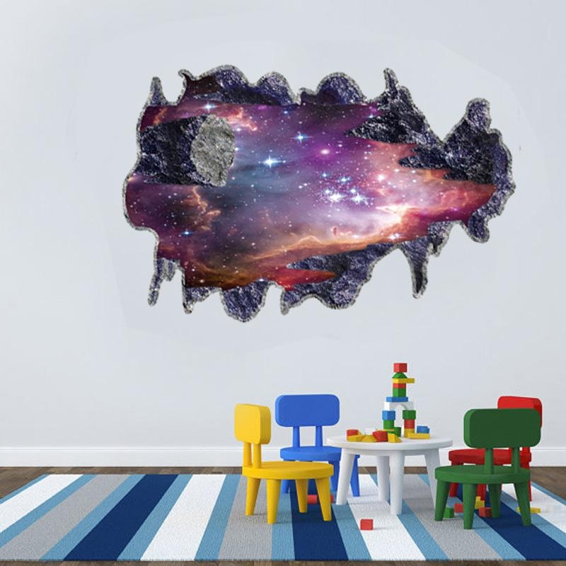 Simulation 3D Galaxy Planet Floor Stickers Decal Home Rooms Party Inside Space 3D Vinyl Wall Art (Image 15 of 20)