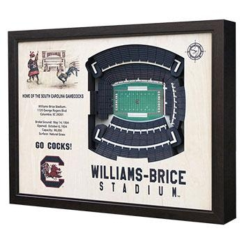 South Carolina Gamecocks Stadium View 3D Williams Brice Wall Art Within 3D Stadium View Wall Art (View 15 of 20)