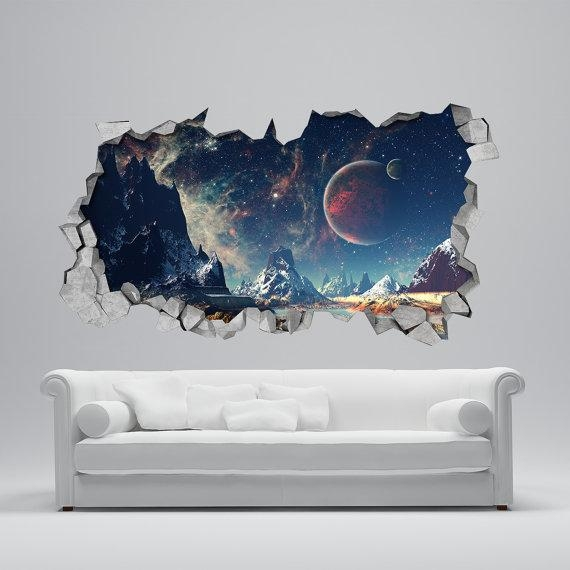 Space Broken Wall Decal 3D Wallpaper 3D Wall Decals 3D For Venezuela Wall Art 3D (View 18 of 20)