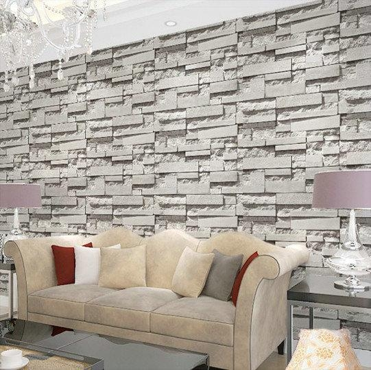 Special Price Korean Pvc Gray Stereo Imitated Brick Stripes With 3D Plastic Wall Panels (Image 19 of 20)