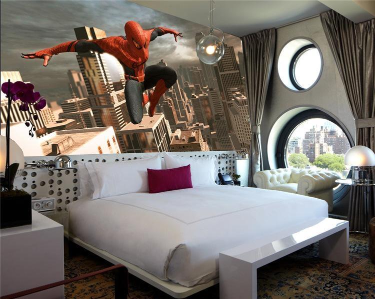 Spiderman Wall Mural Superhero Photo Wallpaper Custom 3D Wallpaper Pertaining To Bedroom 3D Wall Art (Image 19 of 20)