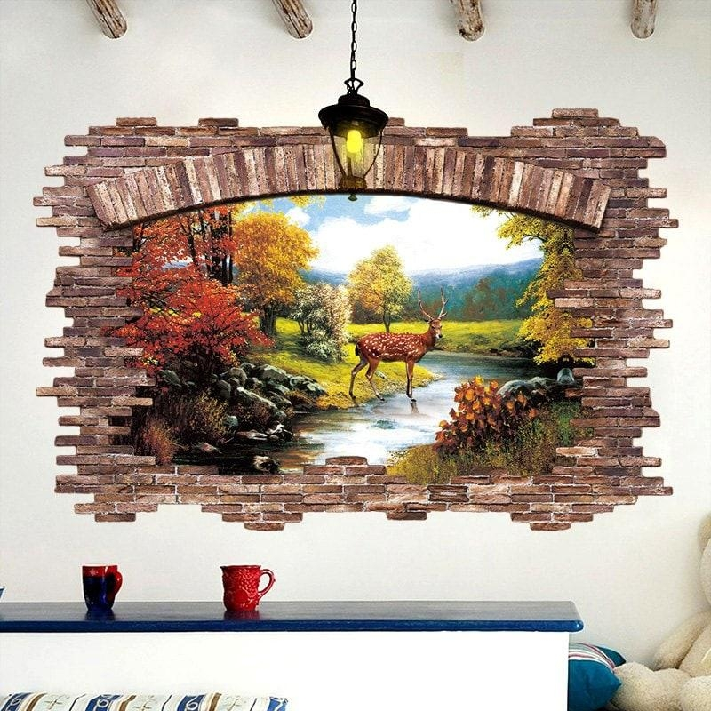 Stream Deer 3D Broken Wall Art Sticker, Colormix, Cm In Wall Intended For Venezuela Wall Art 3D (View 15 of 20)