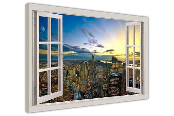 Sunset Over New York City 3D Window Bay View Framed Photos Within New York 3D Wall Art (Image 12 of 20)