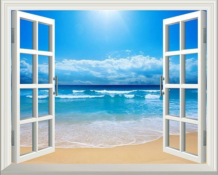 Sunshine Beach 3D Window Decoration View Removable Wall Art Throughout Beach 3D Wall Art (Image 16 of 20)