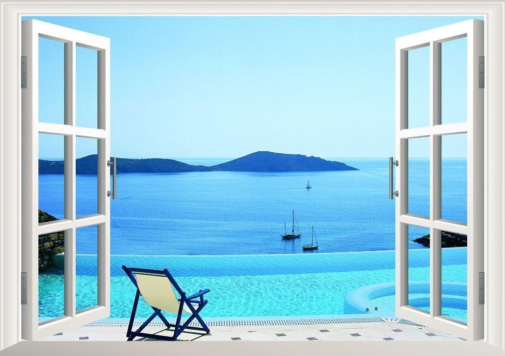 Sunshine Beach Chair Resorts 3D Window View Removable Wall Art With Regard To Beach 3D Wall Art (Image 17 of 20)