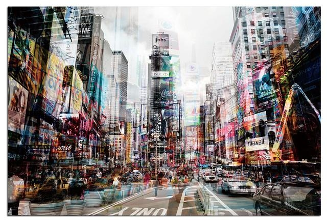 Tempered Glass Wall Art, 3D Times Square New York 1 – Traditional With New York 3D Wall Art (Image 13 of 20)