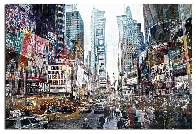 Tempered Glass Wall Art, 3D Times Square New York 2 – Traditional With New York 3D Wall Art (Image 14 of 20)