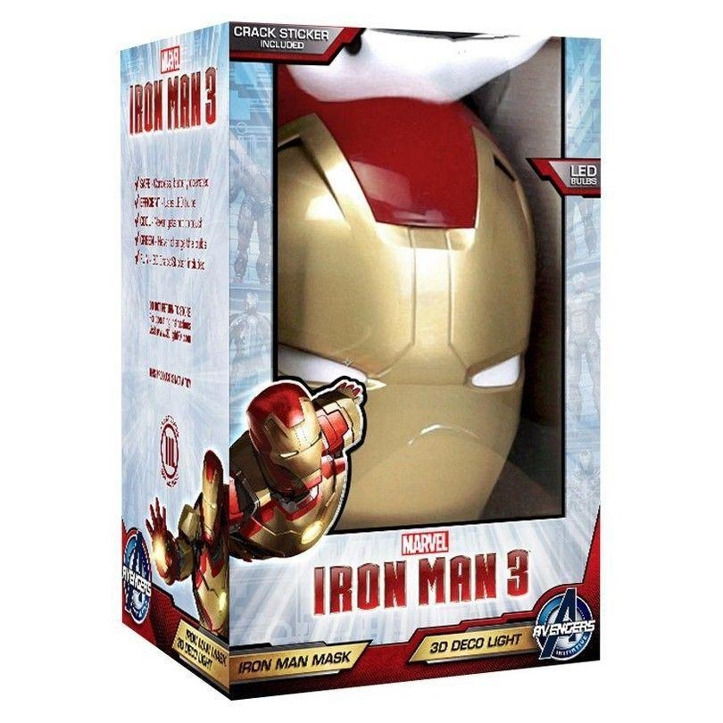 The Avengers 3D Wall Art Home Lighting Lamp Iron Man Mask Night Inside Iron Man 3D Wall Art (View 13 of 20)