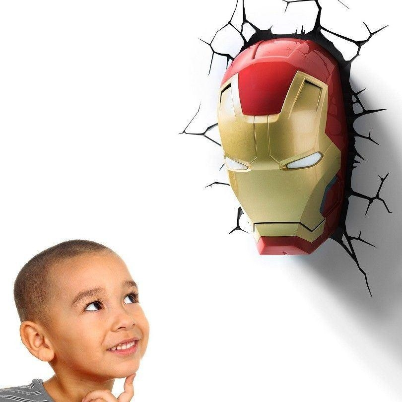 The Avengers 3D Wall Art Home Lighting Lamp Iron Man Mask Night Pertaining To 3D Wall Art Iron Man Night Light (Image 17 of 20)
