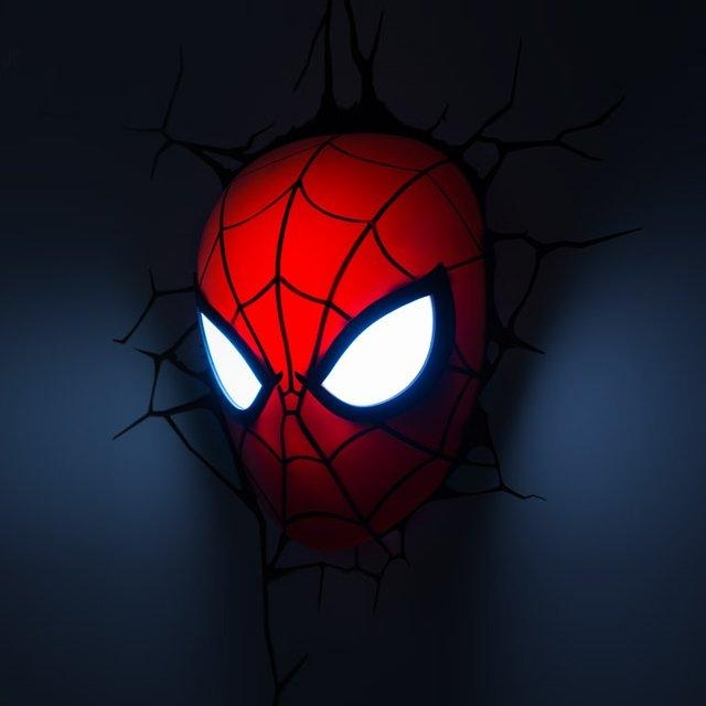 The Avengers 3D Wall Art Light – Spider Man Mask | This Stuff Online Within Avengers 3D Wall Art (Image 17 of 20)