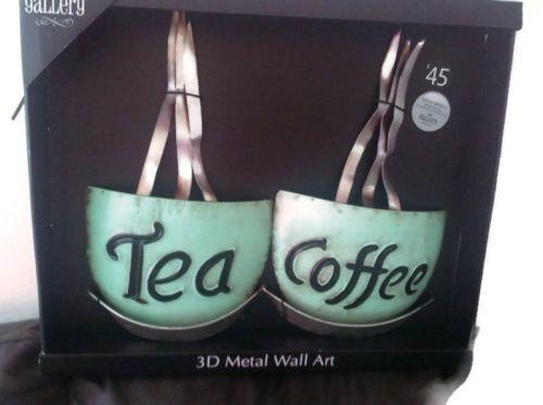 The Gallery 3D Tea Coffee Cups Metal Wall Art Kitchen Shabby Chic With Regard To 3D Wall Art For Kitchen (Image 19 of 20)