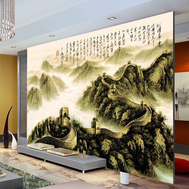 The Great Wall Painting Photo Wallpaper 3D Custom Wallpaper Pertaining To Great Wall Of China 3D Wall Art (View 4 of 20)