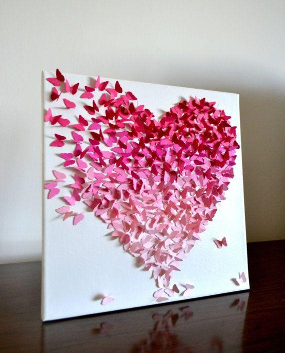 The Original Pink Ombre Butterfly Heart 3D Butterflyronandnoy For 3D Wall Art For Baby Nursery (Image 15 of 20)