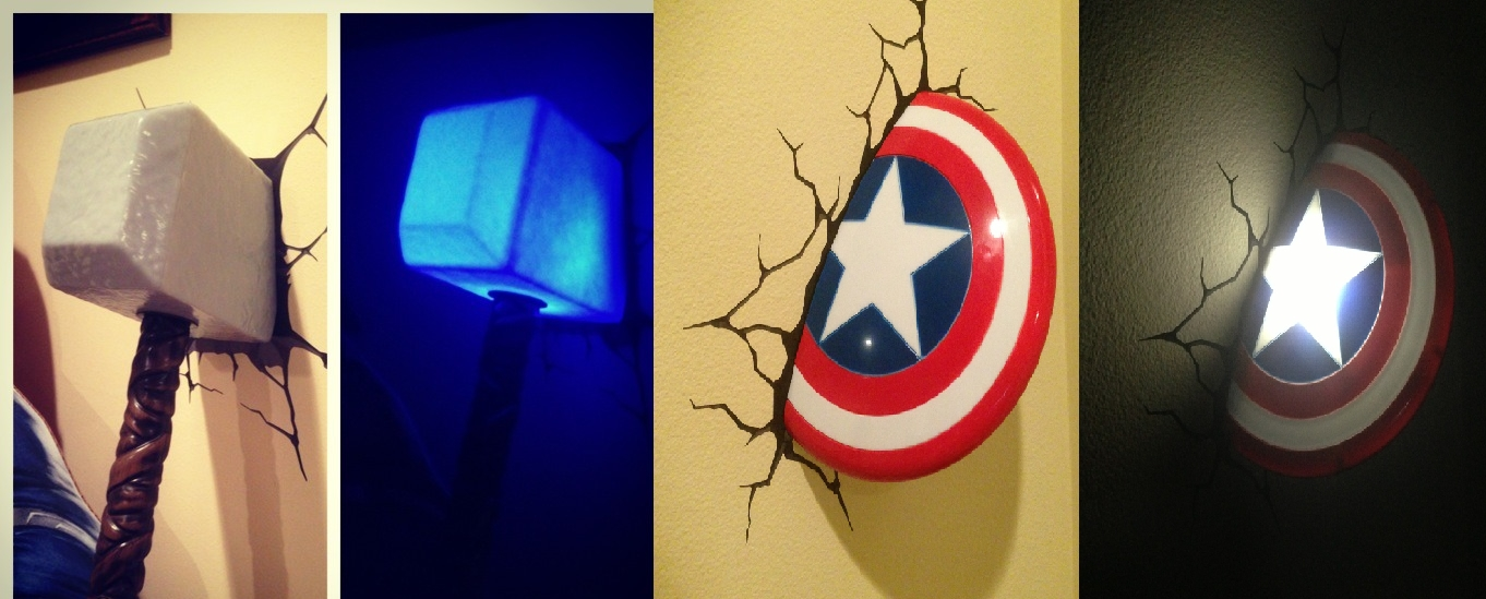 Thor And Captain America Night Lights Intended For 3D Wall Art Captain America Night Light (Image 17 of 20)