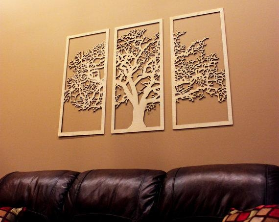 Tree Of Life 3D 3 Panel Tree Wood Wall Art Beautiful Tree For Wood 3D Wall Art (Image 14 of 20)