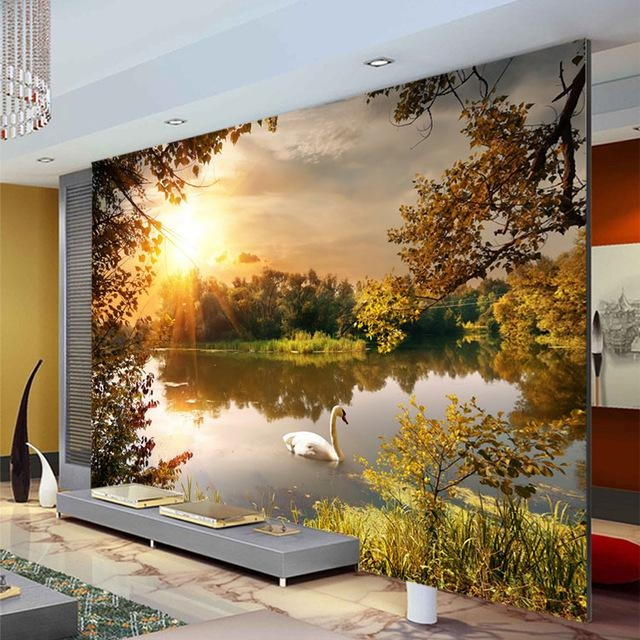 Trees Swan Lake Photo Wallpaper Sunshine Wallpaper Custom 3D Wall Within 3D Wall Art Wallpaper (Image 16 of 20)
