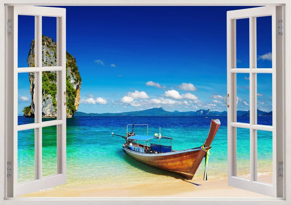 Tropical Beach Wall Sticker 3D Window Boat Wall Decal For Pertaining To Vinyl 3D Wall Art (Image 19 of 20)