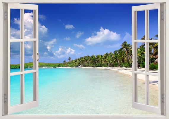 Tropical Caribbean Beach Wall Decal 3D Window Tropical Beach Throughout Beach 3D Wall Art (Image 19 of 20)