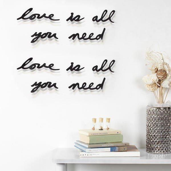 Umbra Mantra Love Wall Decor – All You Need Is Love Wall Text Throughout Umbra 3D Wall Art (Image 11 of 20)