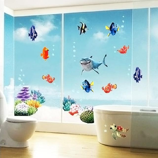 Underwater World 3D Wall Stickers Sea Fish Star Cartoon Bathroom Regarding 3D Wall Art For Bathroom (Image 19 of 20)
