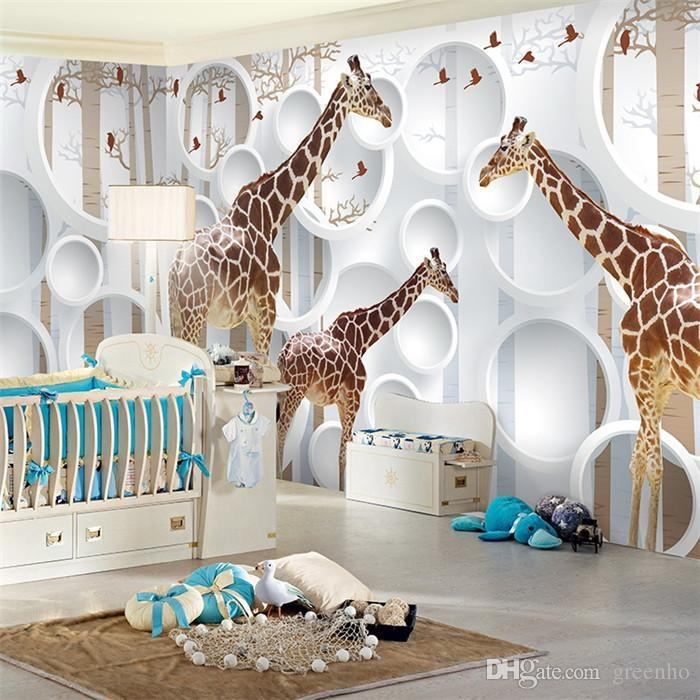 Unique 3D View Giraffe Photo Wallpaper Cute Animal Wall Mural Art In Baby Nursery 3D Wall Art (Photo 10 of 20)