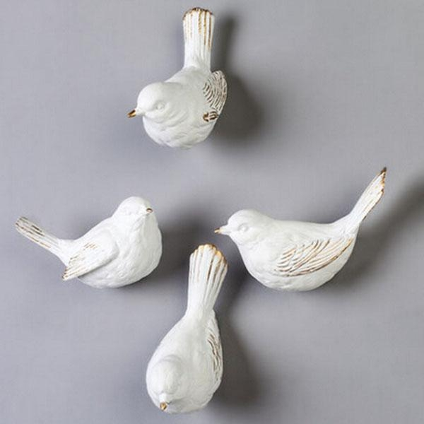 Unique Resin Wall Mount 3D White Bird Figurine Pertaining To White Birds 3D Wall Art (View 17 of 20)