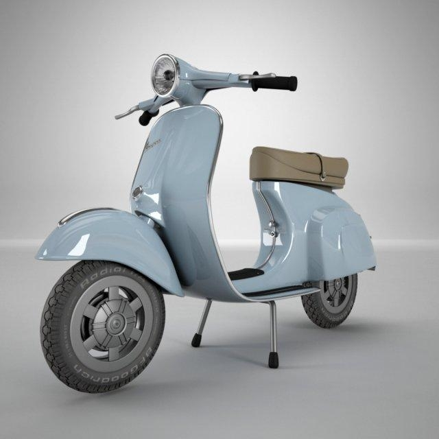 Vespa 3D Model In Motorcycle 3Dexport Within Vespa 3D Wall Art (Image 14 of 20)