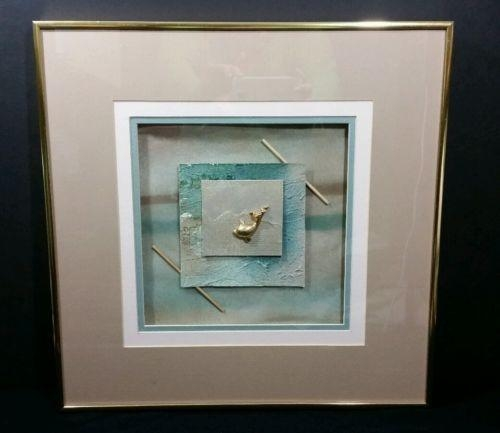 Vintage 1980's Gold Framed 3D Wall Art Gold Fish Paper Art Pertaining To Framed 3D Wall Art (Image 17 of 20)