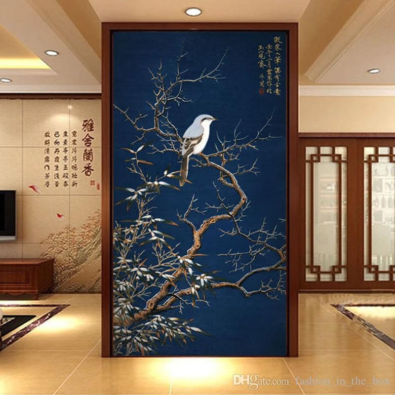 Vintage 3D Wallpaper Flowers & Birds Wall Mural Chinese Style In Vintage 3D Wall Art (Image 8 of 20)