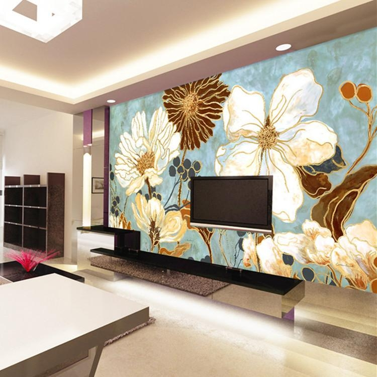 Vintage 3D Wallpaper Painting Flowers Wall Murals Custom Photo Within Vintage 3D Wall Art (Image 10 of 20)