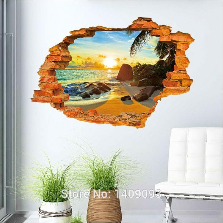 Vintage Brick Wall Decals 3D Sticker Beach Sea Beautiful View Wall In 3D Brick Wall Art (Image 20 of 20)