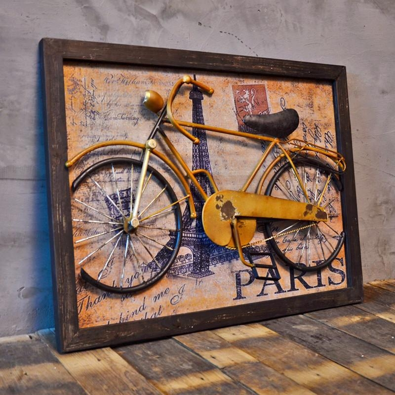 Vintage Home Decor Painting 3D Wall Art With Bicycle On The Wall Throughout Vintage 3D Wall Art (Image 13 of 20)