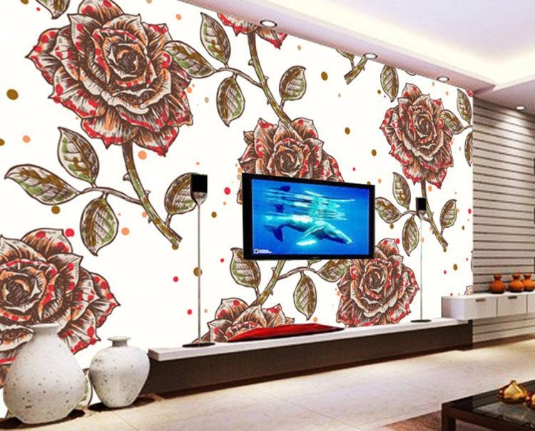 Vintage Wallpaper Custom 3D Wall Mural Hand Painted Rose Flower Inside Vintage 3D Wall Art (Image 15 of 20)
