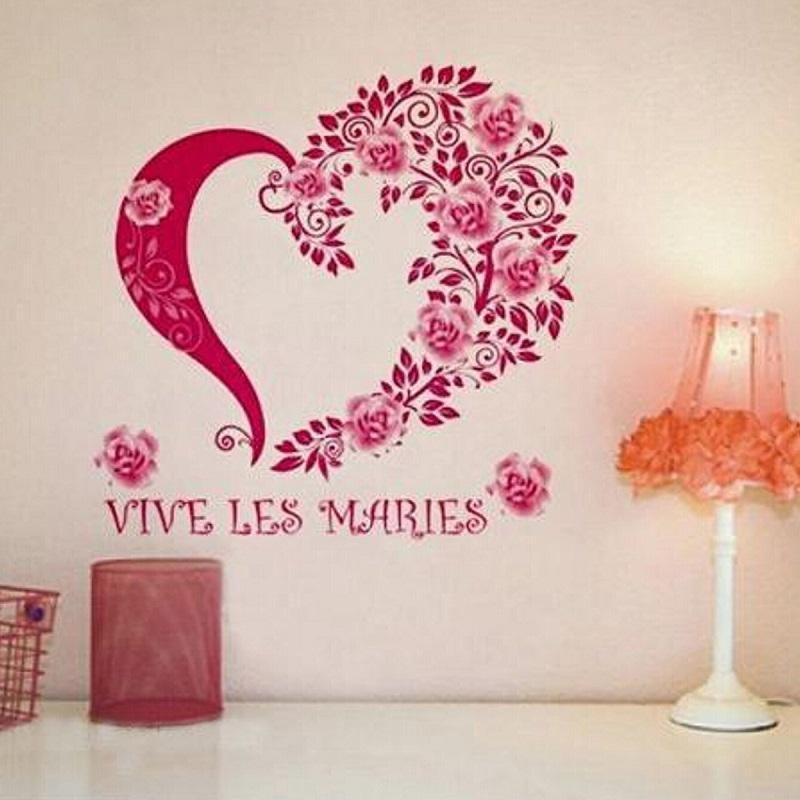 Vinyl Room Wall Sticker Roes Red Flowers Heart Removable Diy Art In Heart 3D Wall Art (Photo 16 of 20)