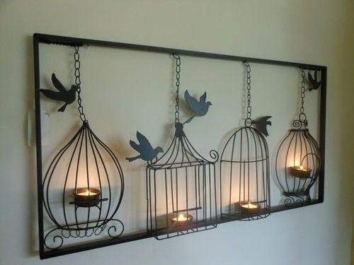 Wall Art Decor: Bird Cage Metal Candle Wall Art Light Hanging For Unusual 3D Wall Art (Image 16 of 20)