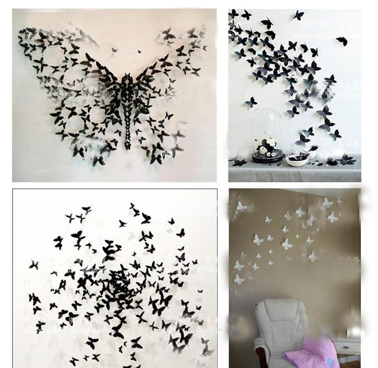 Wall Art Decor Ideas: Hotsale Fashion 3D Butterfly Wall Art For White 3D Butterfly Wall Art (Image 19 of 20)