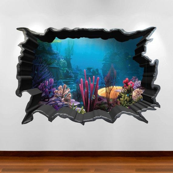 Wall Art Design Ideas: Stunning Aquarium 3D Wall Art Wonderful With Regard To Vintage 3D Wall Art (Image 19 of 20)
