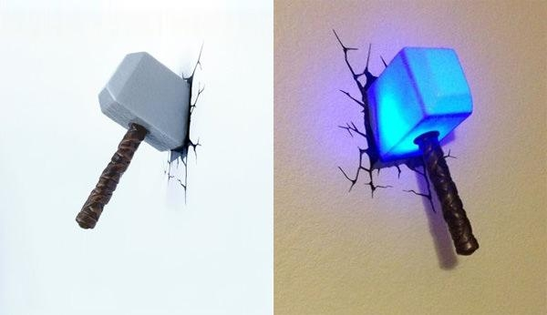 Wall Art Ideas For 3D Wall Art Thor Hammer Night Light (View 2 of 20)