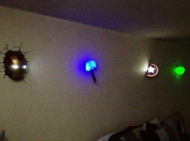 Wall Art Ideas In 3D Wall Art Thor Hammer Night Light (View 6 of 20)