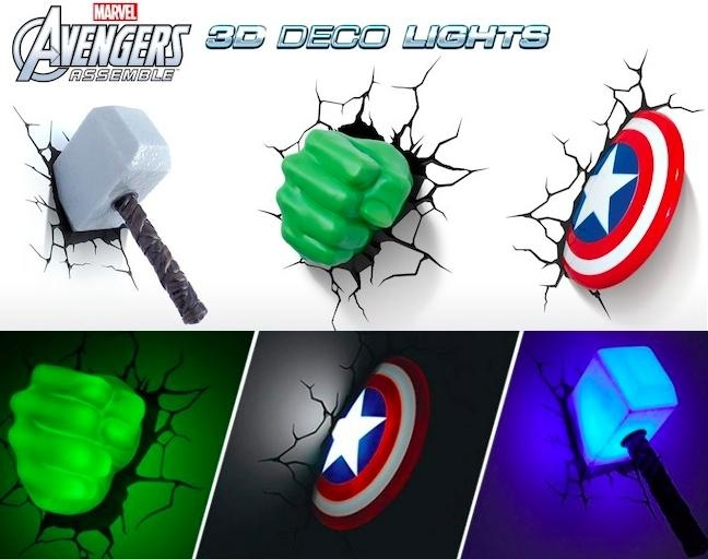 Wall Art Ideas Within 3D Wall Art Thor Hammer Night Light (View 14 of 20)