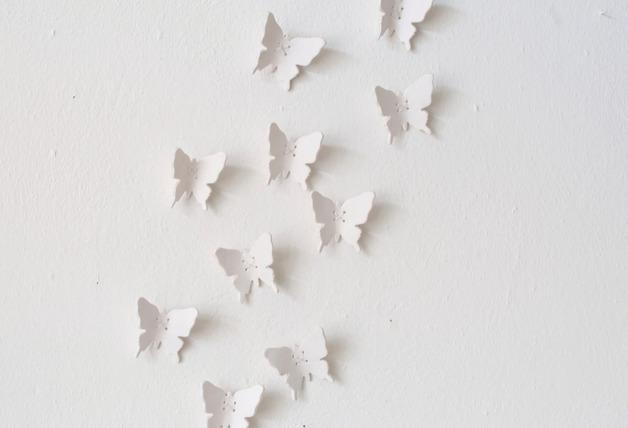 Wall Art – Porcelain 3D White Butterfly – Wall Sculpture – A Pertaining To White 3D Butterfly Wall Art (Image 18 of 20)