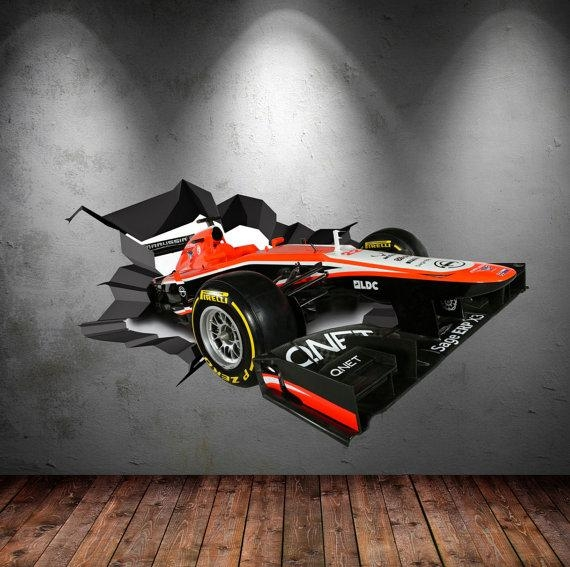 Wall Decals Full Colour 3D F1 Racing Car Race Car Cracked Wall With Regard To Cars 3D Wall Art (View 15 of 20)