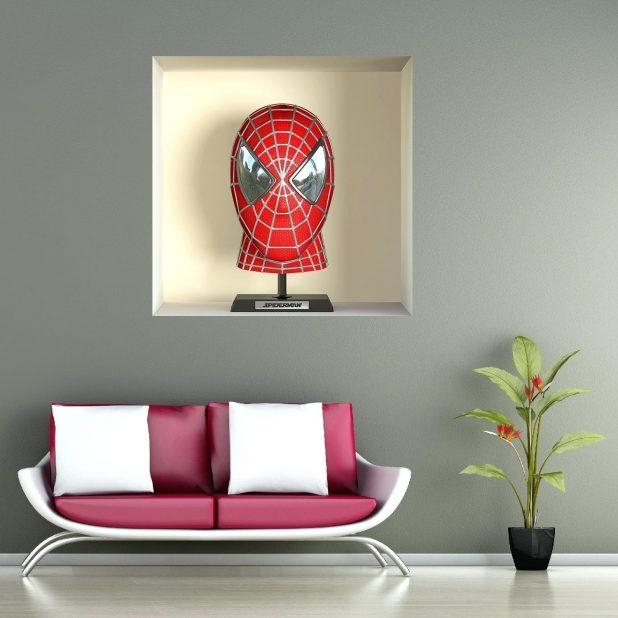 Wall Ideas : Flying Spiderman Poster Super Hero Vinyl Wall Sticker In 3D Wall Art Night Light Australia (View 8 of 20)