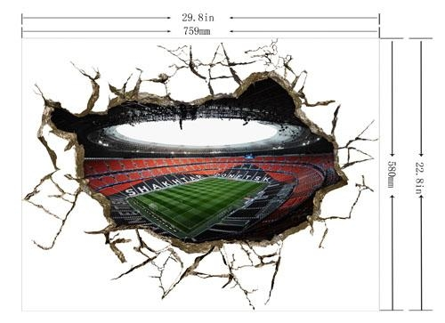 Wall Outside The Football Stadium 3D Art Wall Decals/removable Pvc Inside Football 3D Wall Art (Image 20 of 20)