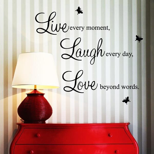Wall Paper Quote Vinyl 3D Butterfly Wall Art Live Every Moment For 3D Wall Art Words (Image 19 of 20)
