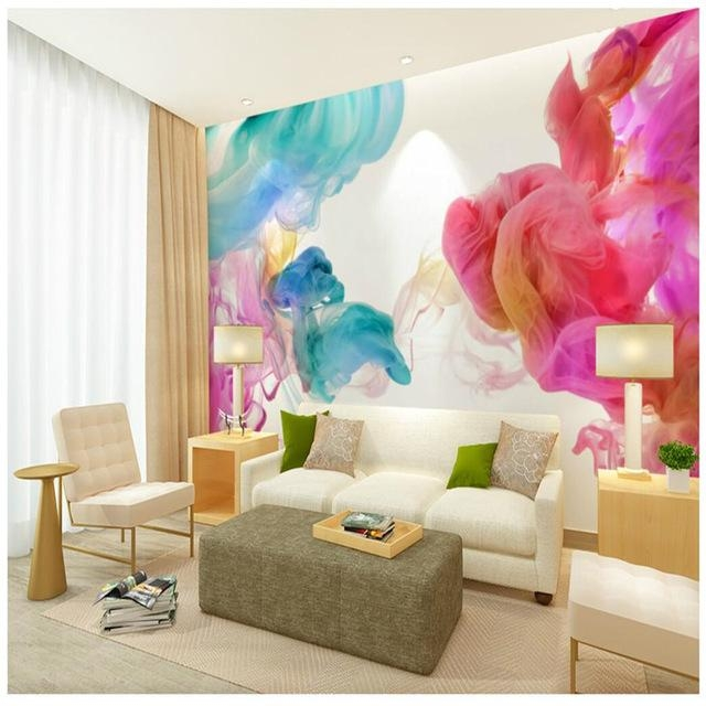 Wall Wallpaper 3D Wall Art Background Photography Color Line Hook Inside 3D Wall Art For Living Room (Image 20 of 20)