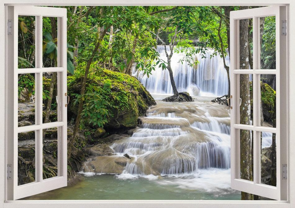 Waterfall Wall Art 3D Window Waterfall Vinyl Wall Decal For In 3D Wall Art Window (Image 19 of 20)